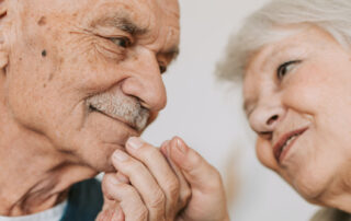 Loving elderly couple who receive home care services
